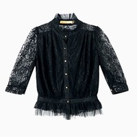 Lace Top with High Neck And Frill Hem | Choies