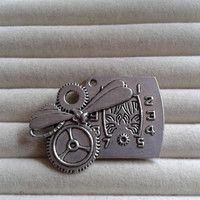 Closing sale - Steampunk  dragonfly with gears and clock silvertone  brooch  pin