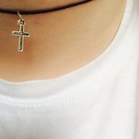 Silver Enamel Cross Black Cord Choker Necklace