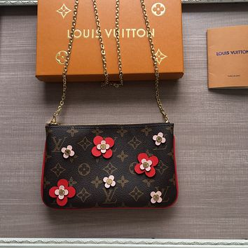 LV Louis Vuitton OFFICE QUALITY MONOGRAM CANVAS Blooming Flowers CHAIN WALLET