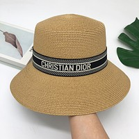 Dior summer bucket hat all-match outing sunscreen straw hat letter sunshade hat cover face fisherman hat Khaki