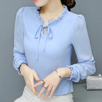 New  Fashion Korean Style Elegant Chiffon Blouse Bow Tie Shirt Stand Collar Long Puff-Sleeve Blusas Women Tops Plus Size GS