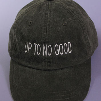 Up To No Good Black Washed Baseball Cap