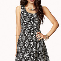 FOREVER 21 Lace-Up Fit & Flare Dress Black/Cream Medium