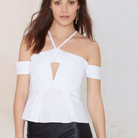 White Halter Front Cut-out Pleated Blouse