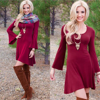 Autumn Winter Womens Casual Solid Color Dress A38
