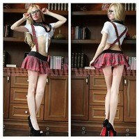 Hot Sexy School Girl Uniform Costume Top & Skirt with Suspenders Clubwear (Color: Multicolor) [9305621575]