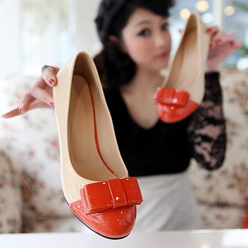 Women Pumps Patent Leather Bow High Heels Shoes Woman 1720