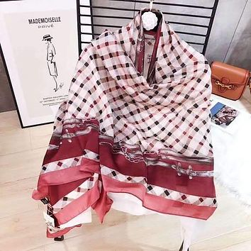 Spring Summer Women Temperament Fashion Double-Sided  Lattice Print Multicolor Spell Color Stripe Silk Scarf Shawl