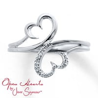 Open Heart Ring 1/20 ct tw Diamonds Sterling Silver