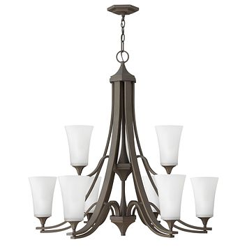 """33""""W Brantley 9-Light Two Tier Foyer in Oil Rubbed Bronze with White"""