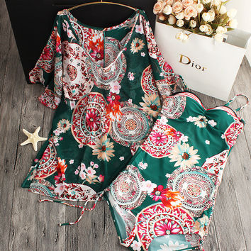2017 summer style Womens Floral One Piece Swimsuit Swimwear Padded Monokini women Cover Up Bathing Suits Swimsuits