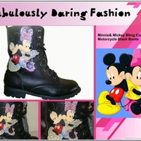 Bling Mickey and Minnie Cartoon Black Combat Boots
