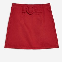 Red Denim A-Line Skirt - New In Fashion - New In