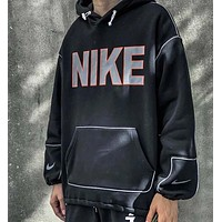 NIKE New fashion letter hook hooded long sleeve sweater Black