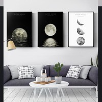 Nordic Style Moon Eclipse Space Canvas Paintings Posters And Prints Black White Wall Art  Picture For Living Room Home Decor  HD