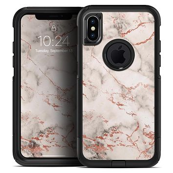 Rose Pink Marble & Digital Gold Frosted Foil V4 - Skin Kit for the iPhone OtterBox Cases