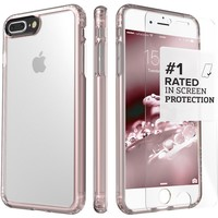 iPhone 8 Plus and 7 Plus Case, SaharaCase Clear Protective Kit Bundled with [ZeroDamage Tempered Glass Screen Protector] Rugged Slim Fit Shockproof Bumper [Hard PC Back] Protection – Rose Gold
