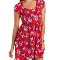Button-Up Floral Print Dress by Charlotte Russe