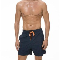 Fashion Casual Men Drawstring Waist Swim Trunks