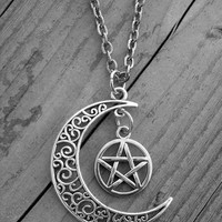 Silver Moon Necklace Moon Jewelry Pentagram Pentacle Gothic Goth Crescent Moon Half Moon Witchcraft Witch Craft Occult Wiccan Pagan Wicca