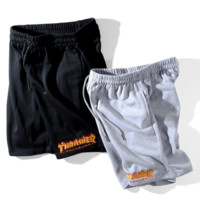 Thrasher New fashion flame embroidery letter shorts couple casual sports shorts two color