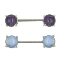 Large Opal Gem Nipple Piercing Ring Straight Barbell Jewelry