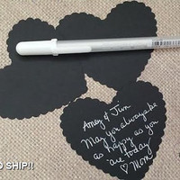100 Large Black (Almost Chalkboard) Die Cut Scallop Hearts, Bride And Groom Advice Cards, DIY Weddings, Escort Cards,(3x2.75)
