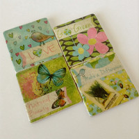 Ready to Ship! Go Green Coasters - Nature Coasters - Any Occasion Gift - Home Decor