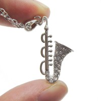 Saxophone Instrument Shaped Rhinestone Pendant Necklace in Silver | For Music Lovers