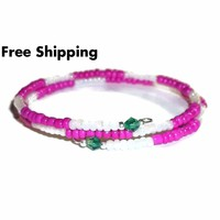 Hot Pink & White Glass w/ Teal Green Crystal Accents Stackables Artisan Crafted Wrap Bracelet (M-L)