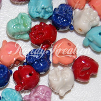 25 Buddha Head Beads Synthetic CORAL 14mm x 12mm Pony Beads for Kandi Rave Bracelets Smiling Raver Buddhism buddah Laughing Happy Bubblegum