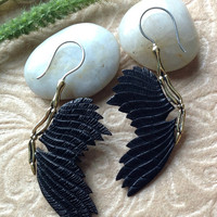 """Tribal Earrings, """"Skeletal Wings"""" Naturally Organic, Horn, Brass, Sterling Silver Posts, Hand Carved"""