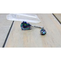 """14g Titanium belly button ring 3/8"""" pear shaped mystic topaz gemstone navel piercing jewelry"""