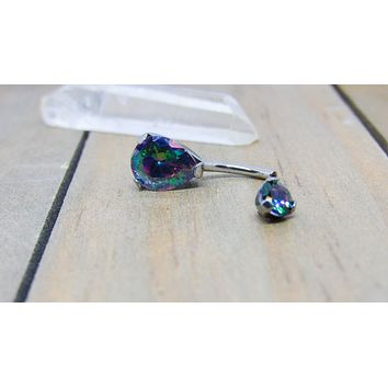 "14g Titanium belly button ring 3/8"" pear shaped mystic topaz gemstone navel piercing jewelry"