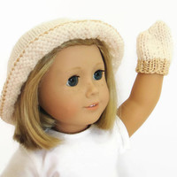 18 Inch Doll Mittens - Doll Hat and Gloves Set - Knit Doll Clothes