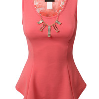 LE3NO Womens Fitted Peplum Tank Top with Detachable Necklace (CLEARANCE)