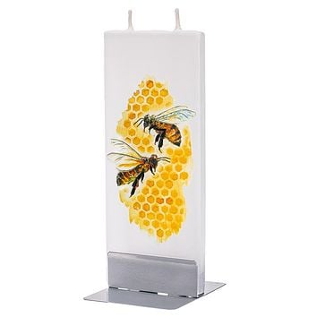 Flatyz Handmade Lithuanian Twin Wick Unscented Thin Flat Candle - Honey Bees on Honeycomb