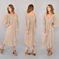 70's Striped Cotton GAUZE Dress