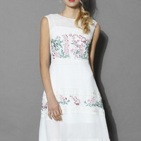 Floret Song Crepe Dress with Crochet Trimmed