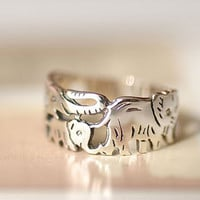 925 Sterling Silver Elephant Family Animal Cute Cartoon Simple Ring