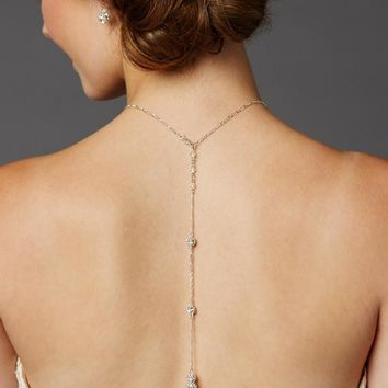 Delicate Back Necklace with Spectacular Austrian Crystal Rhinestone Fireballs