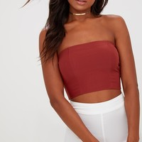 Dark Green Slinky Bandeau Crop Top