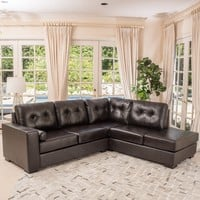 Elena Leather L-Shaped Sectional Couch