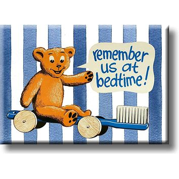 Boys Bathroom Reminder, Remember Us at Bedtime Picture on Stretched Canvas, Wall Art Décor, Ready to Hang
