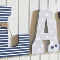 Nautical Nursery Letters, 7 3/4 Inch Wall and Standing Wooden Letters, Nursery Kids Room Decor, Custom Name, Custom Colors, Nautical Baby