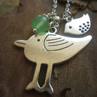 MOMMY,  BEEPS & AGATE delicate chain with birds and stone