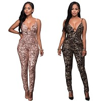 Sexy Club Wear Women Jumpsuits Deep V Neck Spaghetti Strap Bodycon Jumpsuits High Quality Gold/Black Sequined Backless Jumpsuits