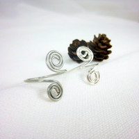 Silver Spiral Ring Silver Wire Ring Double Spiral Ring Silver Ring Knuckle Ring Sterling Silver or Silver Color Wire Fantasy Hippie Jewelry