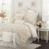 Lush Decor Lucia 4-Piece Comforter Set, King, Ivory